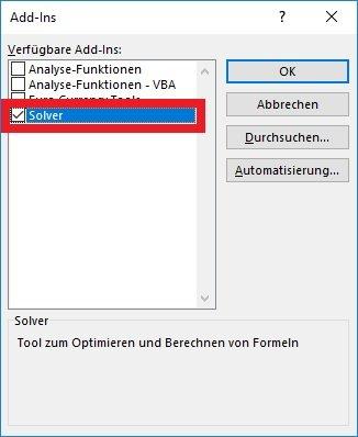 Excel Solver installieren