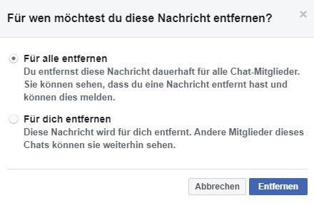 Facebook Nachricht nur für sich oder auch beim anderen entfernen.