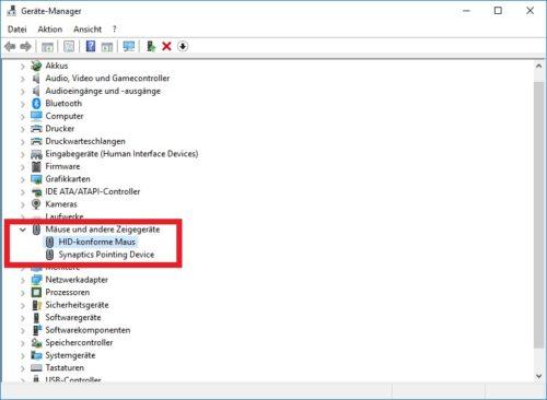Die installierten Mäuse im Windows 10 Gerätemanager