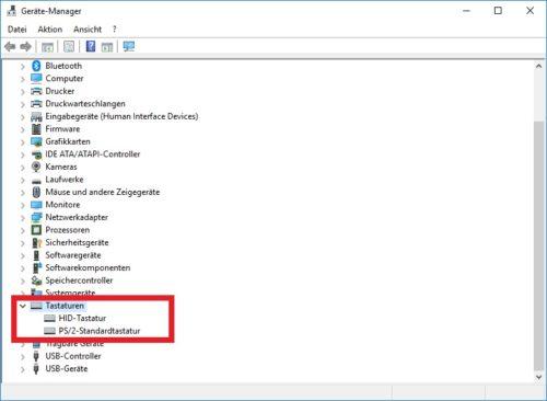 PS2 und Bluetooth Tastaturen im Gerätemanager
