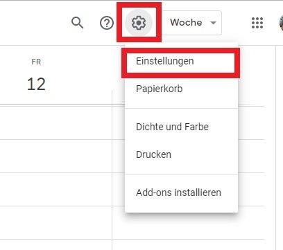 Google Kalender Einstellungen öffnen