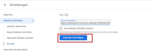 Kalender zum Outlook Server hinzufügen