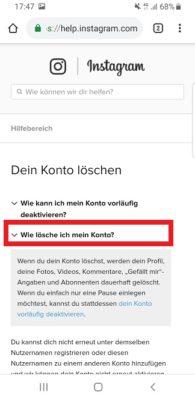 Anleitung zum Konto löschen.