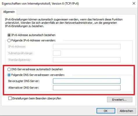 IPv6 DNS-Server ändern