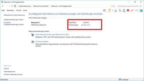 Netzwerk- und Freigabecenter in Windows 10