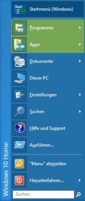Windows 10 Startmenü in klassischer Ansicht.