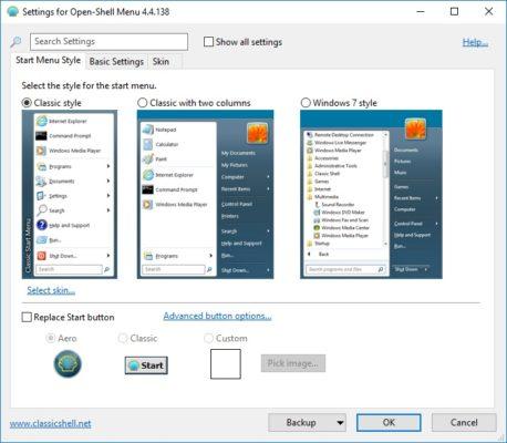 Windows 10 klassisch Ansicht einstellen mit Open-Shell-Menu.