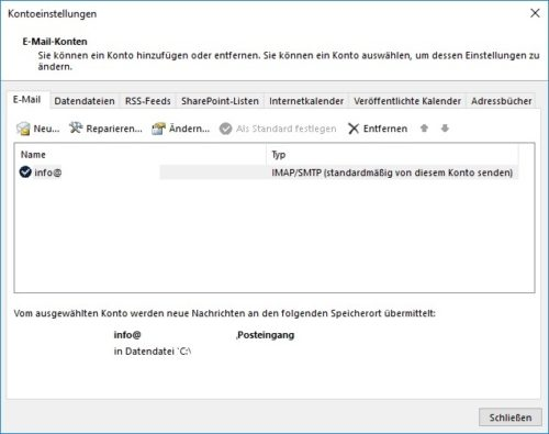 Outlook Postfachübersicht