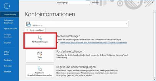 Outlook Konto einrichten: Einstellungen öffnen