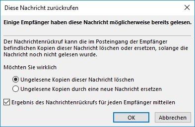 Outlook Rückruf-Optionen