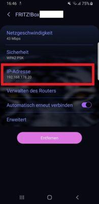 Anzeige der aktuelle IP in den WLAN-Einstellungen