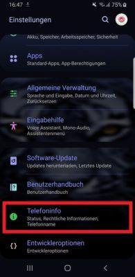 Einstellungen auf einem Samsung Galaxy S9