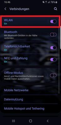 Verbindungen auf einem Samsung Galaxy S9