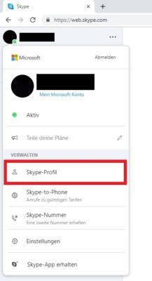 Skype-Einstellungen öffnen
