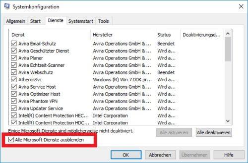 Microsoft Dienste in der Systemkonfiguration ausblenden.