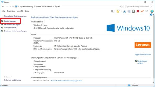 Geräte Manager in Windows 10