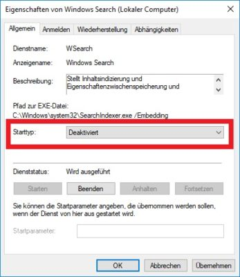 Windows Search abschalten
