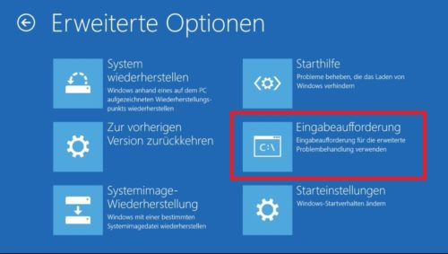 Windows10 Start-CD erweiterte Optionen