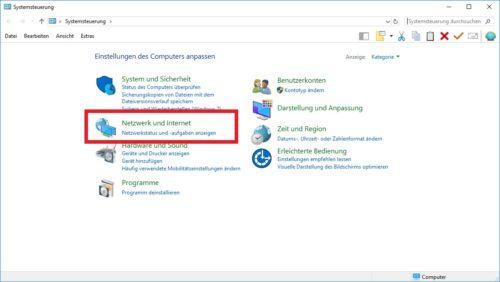 Die Windows 10 Systemsteuerung.