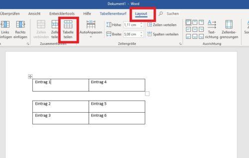 Word-Tabelle horizontal teilen