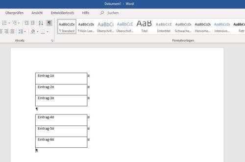 Word-Tabelle vertikal teilen.