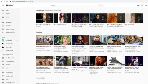 Ansicht YouTube Standbilder