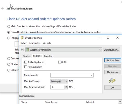 Druckervereichnis in Active Directory