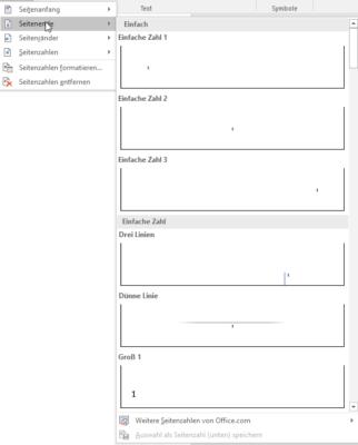 Verschiedene Stilvorlagen für Seitenzahlen in Word
