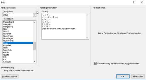 Feldfunktion Page für Seitennummerierung Word