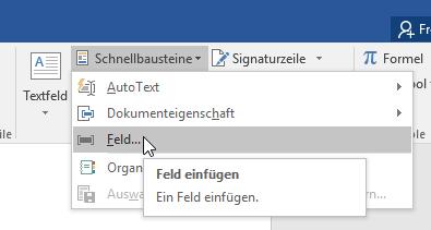 Schnellbausteine Feld für angepasste Seitenzahlen