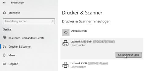 In Windows 10 Netzwerkdrucker einrichten