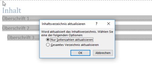 Seitenzahlen im Inhaltsverzeichnis werden automatisch übernommen
