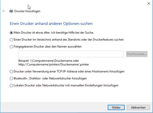 Netzwerkdrucker in Windows 10 manuell hinzufügen