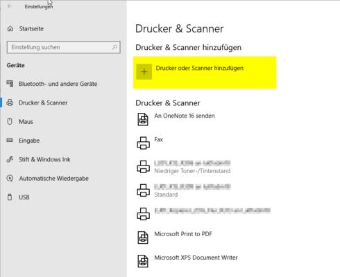 Netzwerkdrucker unter Windows 10 hinzufügen