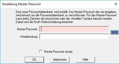 Password Safe Test Masterpasswort erneut eingeben