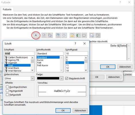 Seitenzahl Excel formatieren