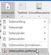 Seitenzahlen entfernen
