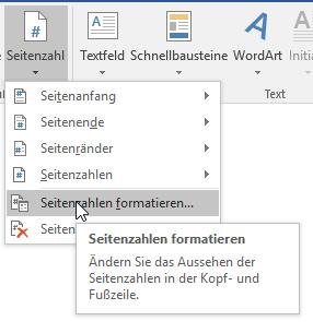 In Word können Sie die Seitenzahlen auch formatieren