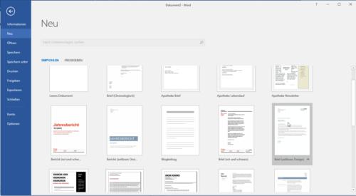 Vorlagen in Microsoft Word enthalten Seitenzahlen