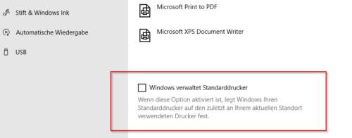 Windows verwaltet Standardrucker