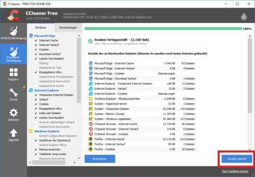 Dateiliste von CCleaner unter Windows 10