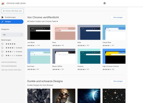 Google Chrome Themes sind Add-Ons