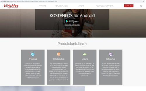 Ansicht der McAfee Webseite Virenschutz für Android