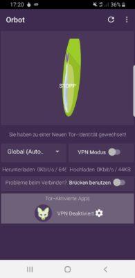Orbot konfigurieren: Identität in der deutschen Version von Tor für Android wechseln