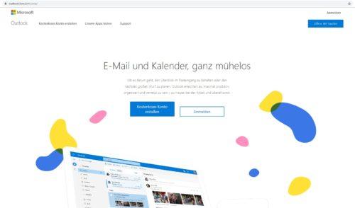 Startseite von Outlook.com