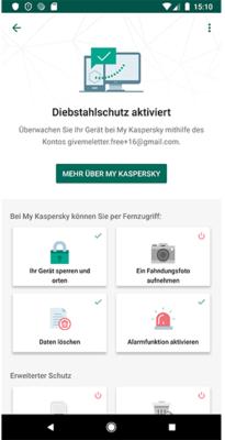 Dienstahlschutz-Funktionen des Kaspersky Internet Security Virenschutz für Android