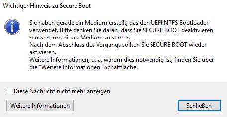 Secure Boot muss bei UEFI deaktiviert werden