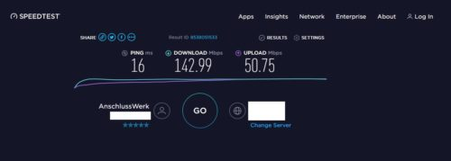 Speedtest über Xirrus WiFi Inspector