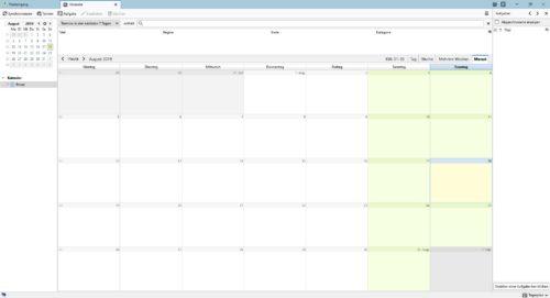 Ansicht des Lightning-Kalender in Mozilla Thunderbird.