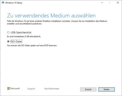 Windows 10 ISO Abbild herunterladen